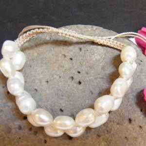 Jewelry - Freshwater PEARL Knotted Braided Bangle Bracelet